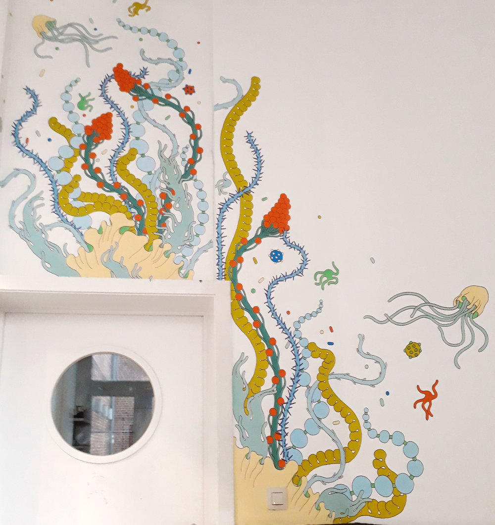 Untitled,  2017. Commissioned mural painting, Cultural Center of Molenbeek, BRUSSELS, Belgium.