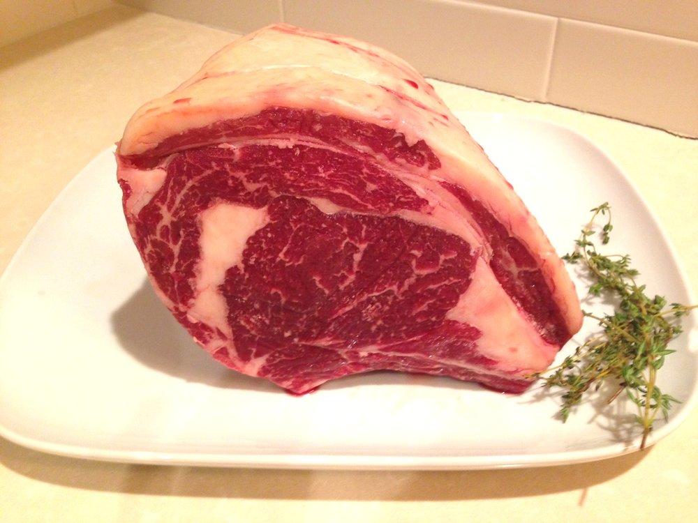 Beautifully marbled rib roast raised on a 100% grass-fed diet.