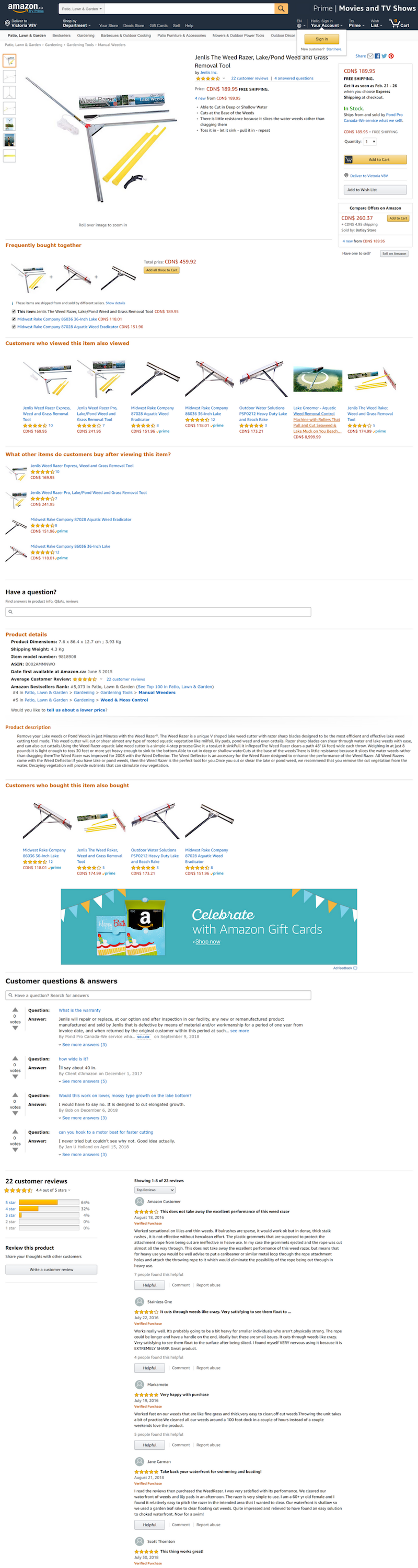 Amazon product detail page Milone and company.png