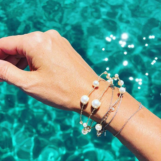 Summer & pearls! Enjoying every bit of summer with our Adelia bracelet. Designed and handcrafted in Toronto by @theloved_one 💫💫💫