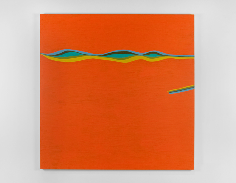"""Orange Wavy Line"", 2007 , oil on canvas, 72 x 72 inches"