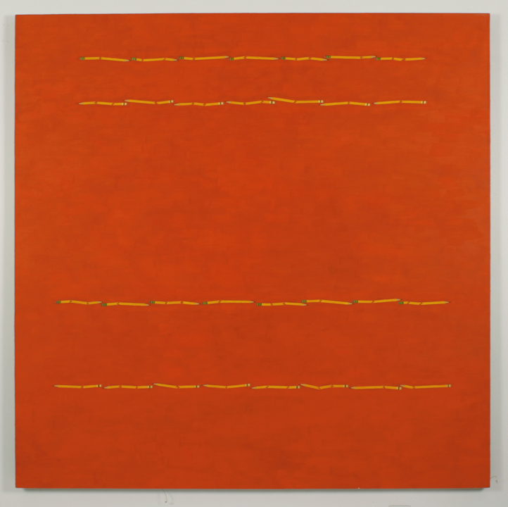 """4 Pencil Lines, Red/Orange"", 2005 , oil on linen, 60 x 60 inches"