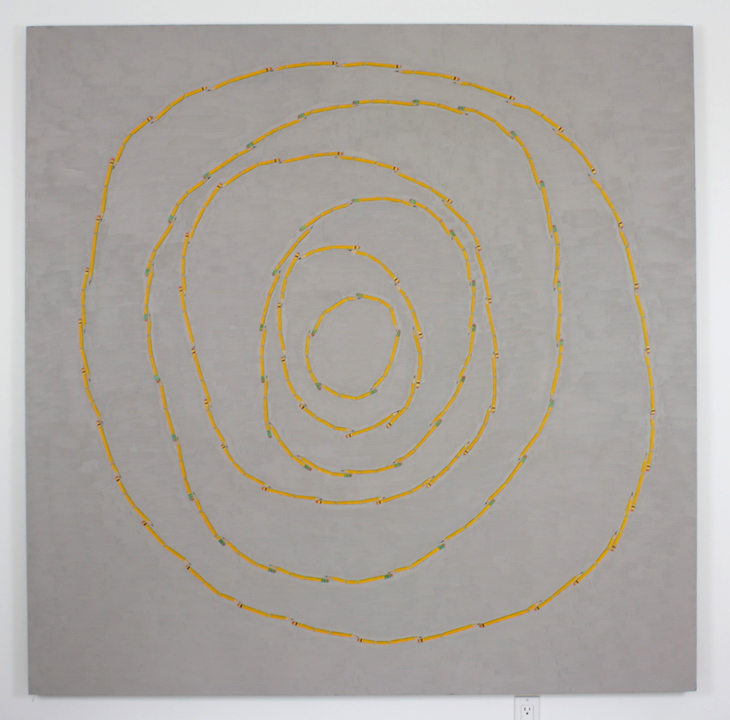 """Broken Pencil Circles"", 2005 , oil on linen, 72 x 72 inches"
