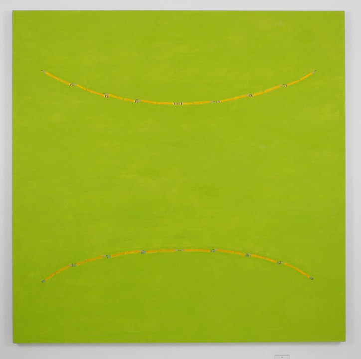 """Green Happy/Sad"", 2005 , oil on linen, 60 x 60 inches"
