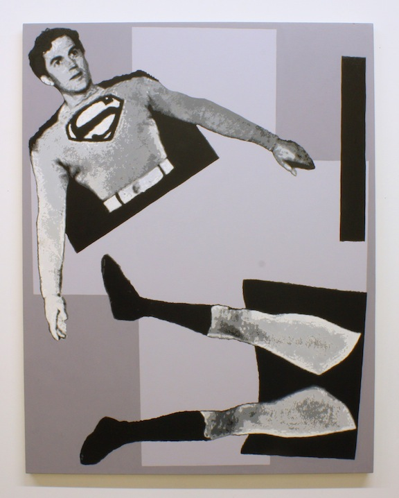 """After Malevich w/Superman in 3 Parts"", 2013 , oil on canvas, 66 x 51-1/4 inches"