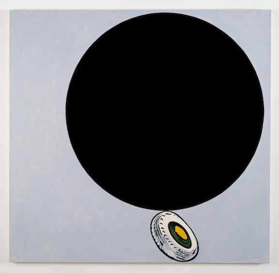 """After Malevich w/Tire"", 2012 , oil on canvas, 64 x 66 inches"