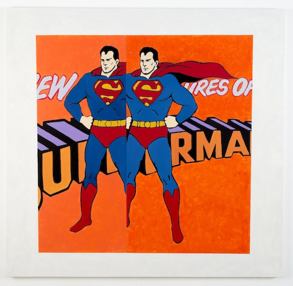 """After Malevich w/Double Superman"", 2012 , oil on canvas, 64 x 66 inches"