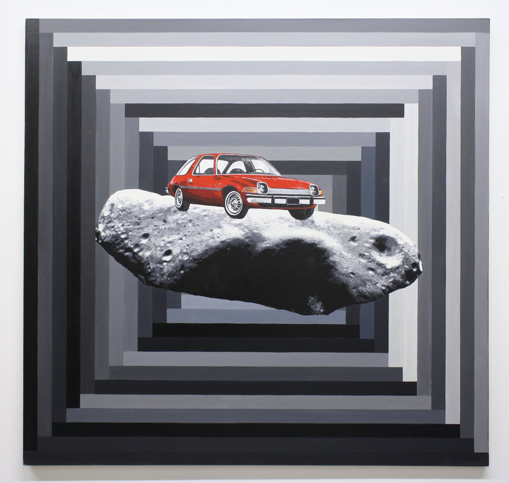 """Pacer w/Asteroid"", 2014 , oil on canvas, 64 x 66 inches"