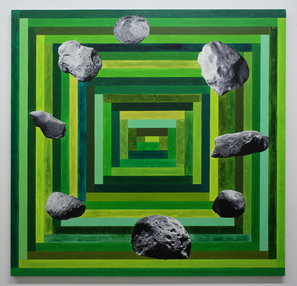 """8 Asteroids"", 2014 , oil on canvas, 64 x 66 inches"