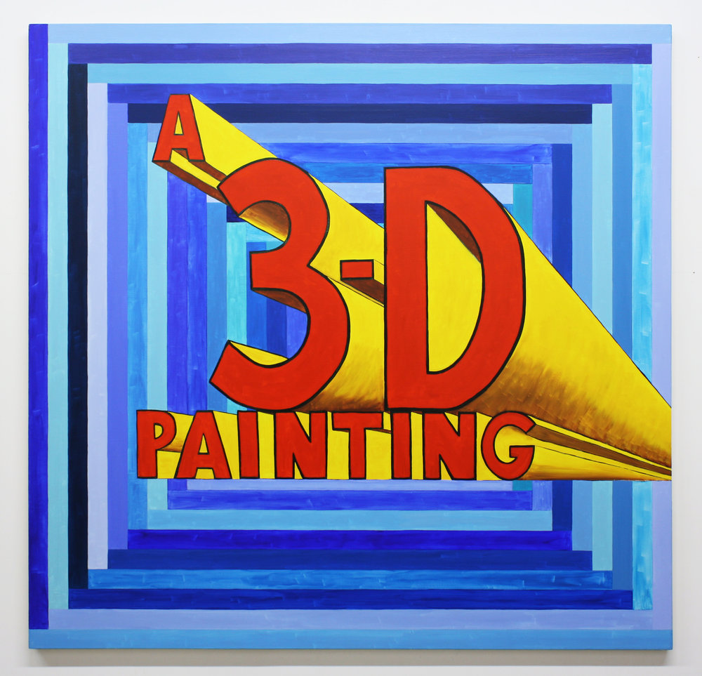 """A 3-D Painting"", 2014 , oil on canvas, 64 x 66 inches"