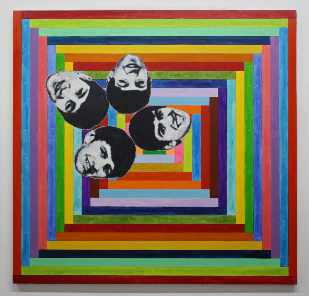 """4 Beatles"", 2014 , oil on canvas, 64 x 66 inches"