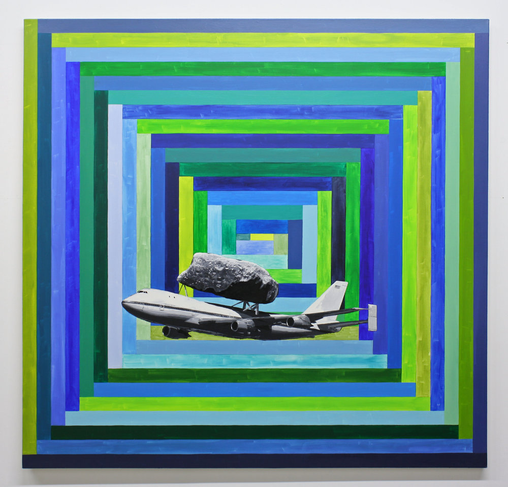 """747 w/Asteroid"", 2015 , oil on canvas, 64 x 66 inches"