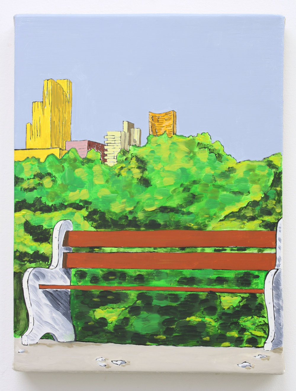 """Untitled,Park Bench w/ City"", 2014 , oil on Linen, 12 x 9 inches"