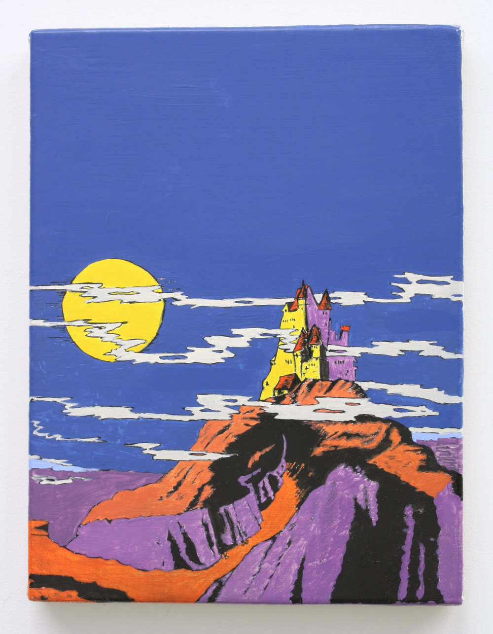 """Untitled, Castle w/Moon"", 2014 , oil on Linen, 12 x 9 inches"