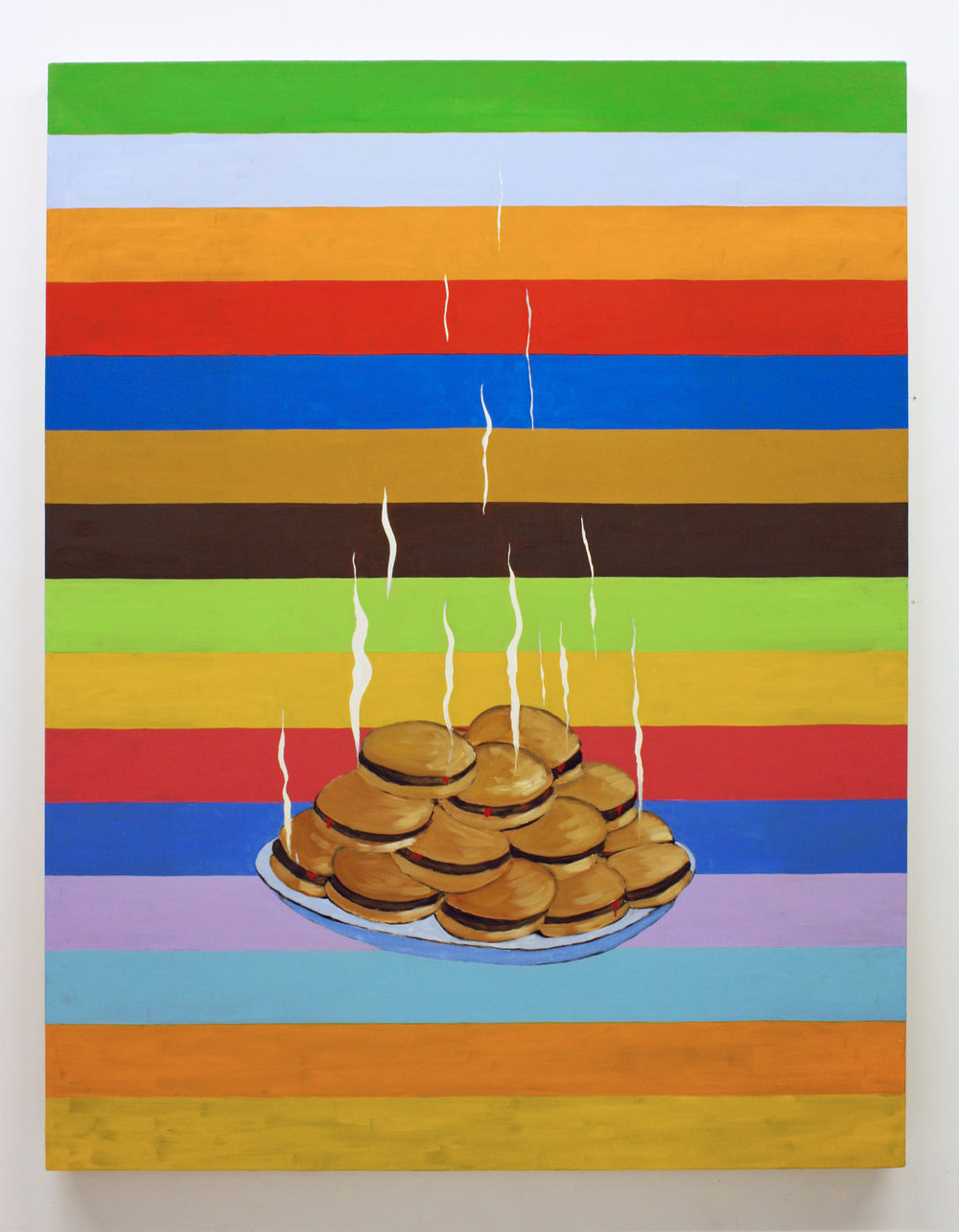 """Untitled, (Hamburgers)"", 2017 , oil on canvas, 60 x 46 inches"