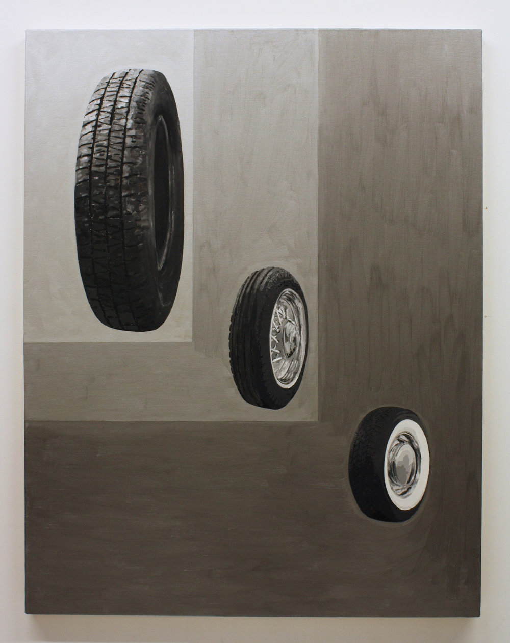 """Untitled, (3 Tires)"", 2017 , oil on canvas, 60 x 46 inches"
