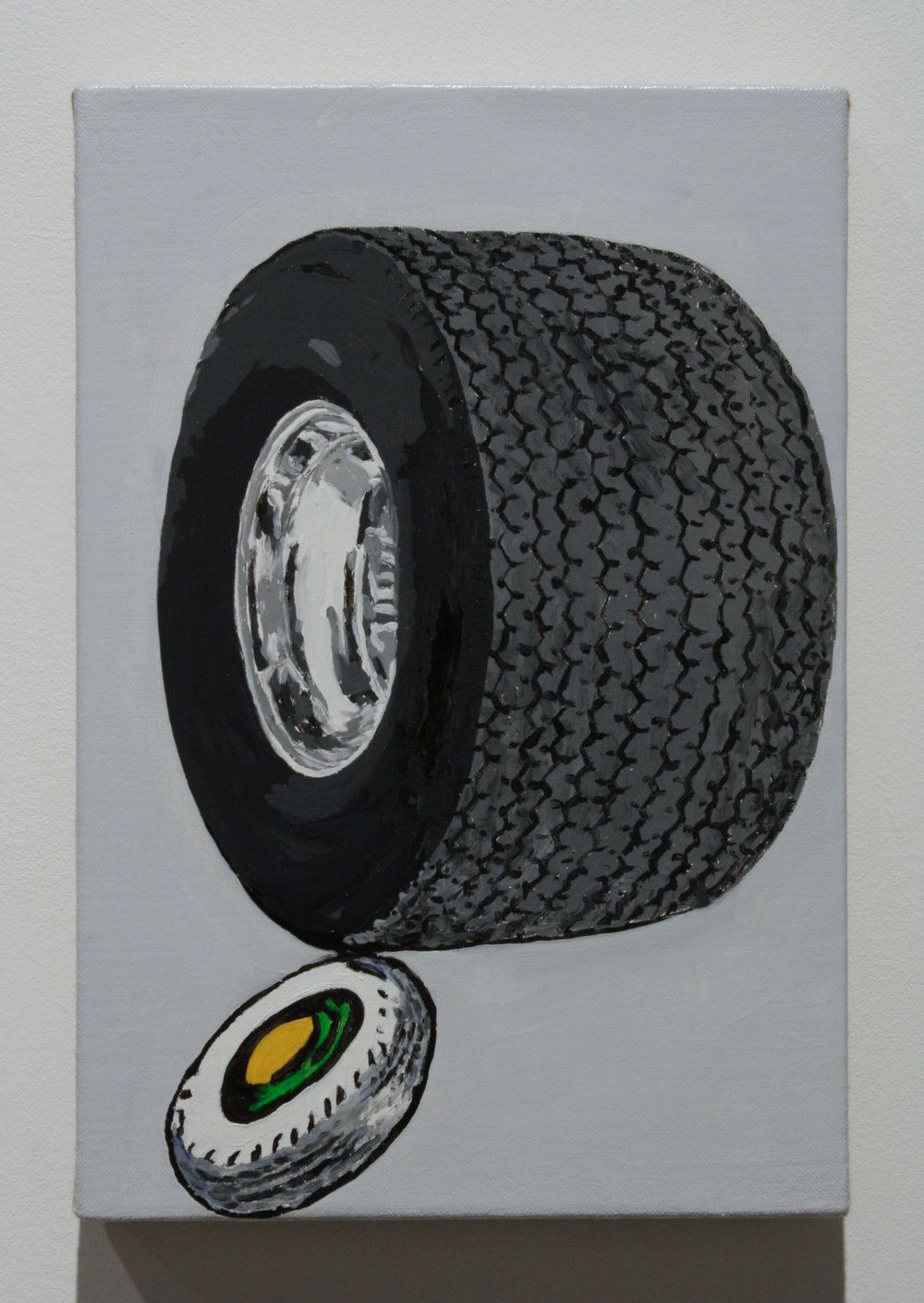 """Untitled, (2 Tires)"", 2016 , oil on linen, 12 x 8 inches"