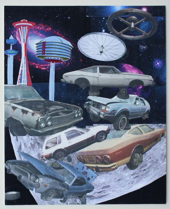 """Untitled, w/Cars"", 2015 , unique inkjet print collage, 20 x 16 inches"