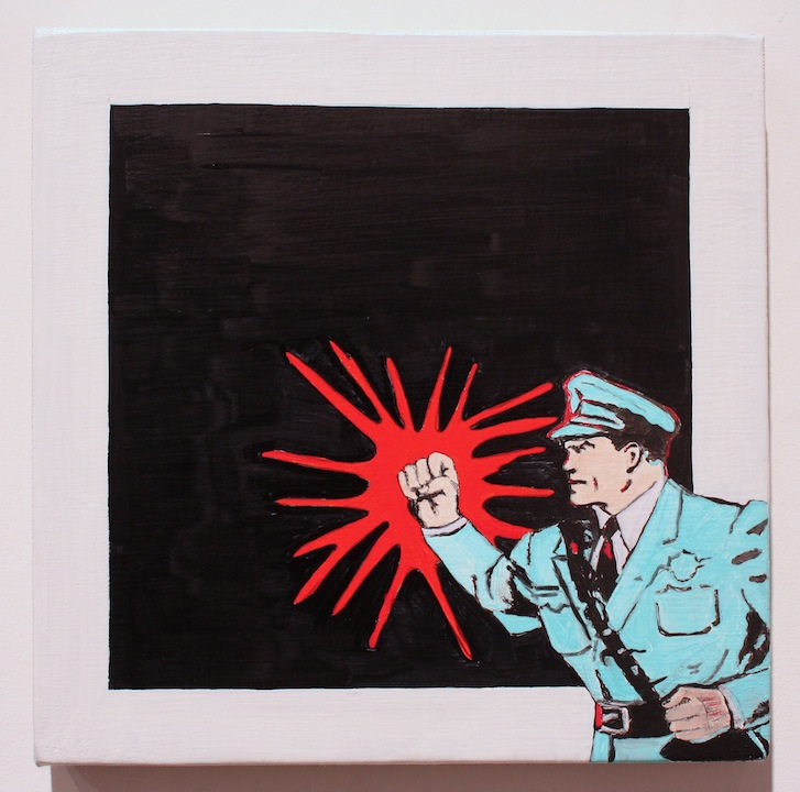 """After Malevich w/Policeman"", 2012 , oil on linen, 12 x 12 inches"