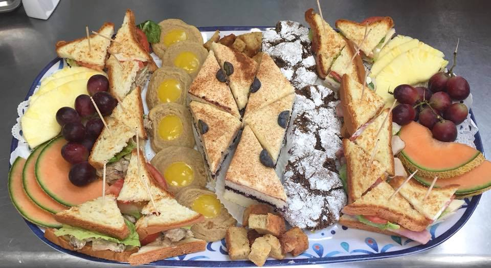 Sandwich, fruit, cookies and cake platter