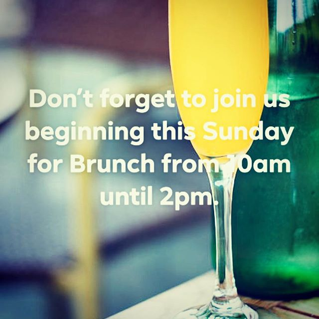 Sunday Brunch starts tomorrow at 10am. Complete with mimosas. Service until 2pm. Don't miss it!