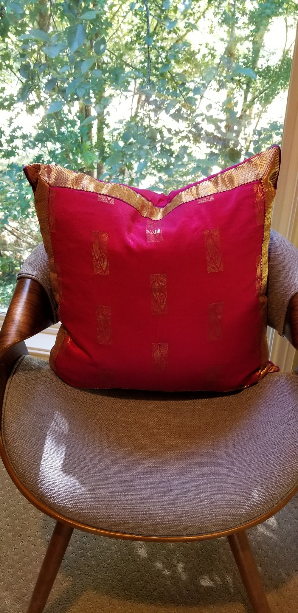 One-of-a-kind pillow cases made from saree silk