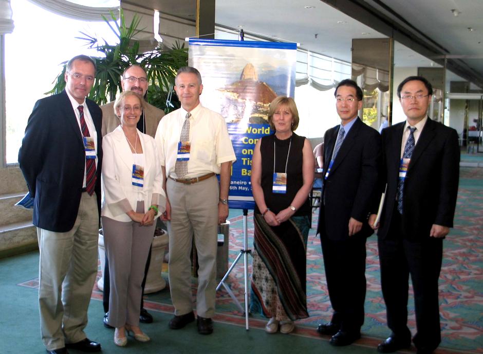 Inaugural WUTBA session   – Rio de Janeiro, 2005 . From left to right: Luc Noel (WHO), Marisa Herson (ALABAT), Scott Brubaker (AATB), Ian Koler (EATB), Lyn Ireland (ATBF, currently BAA), Yong-Koo Kang (APASTB)