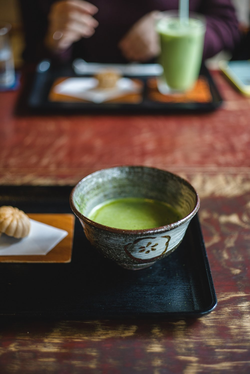 A satisfying cup of hot matcha!