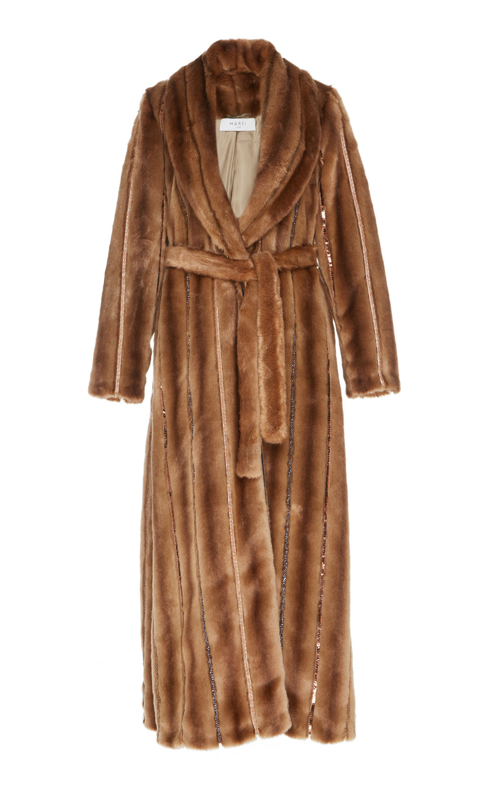 Saponaria Faux Fur Coat - BROWN  A true investment piece, this calf-length coat is a winter essential. Made from soft and fluffy faux fur, embellished with bead trims, it features a wrap silhouette and a notched lapel neckline. The loose fit makes it easy to layer.