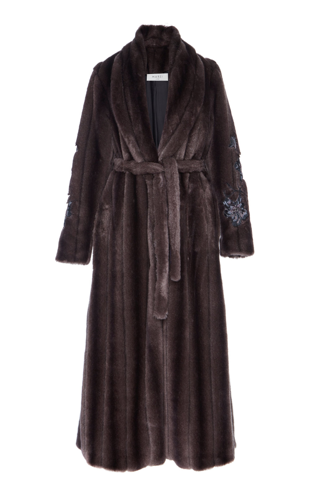 Saponaria Faux Fur Hand-Embroidered Coat - PURPLE  A true investment piece, this calf-length coat is a winter essential. Made from soft and fluffy faux fur, embellished with bead trims, it features a wrap silhouette and a notched lapel neckline. The loose fit makes it easy to layer.