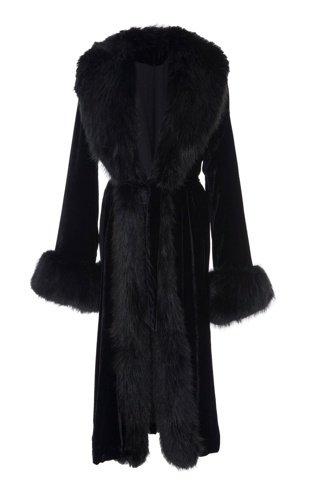 Mayflower Silk Velvet Coat - BLACK  This Silk Velvet coat features bell sleeves and an elegant oversized silhouette. Faux fur trims add a touch of glamour to every outfit. A tone-on-tone belt defines the waistline, while creating a highly flattering silhouette.