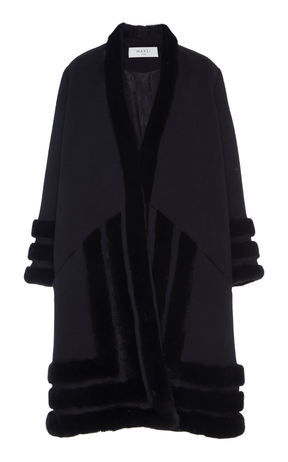 Wedelia Overcoat - BLACK  Cut in an oversized silhouette, enhanced by deep neckline and dropped shoulders, this coat is an ideal winter piece. Made from a sumptuous blend of Virgin Wool and Angora, it is incredibly soft to touch. Decorative textured Fur trim details add a sophisticated twist.