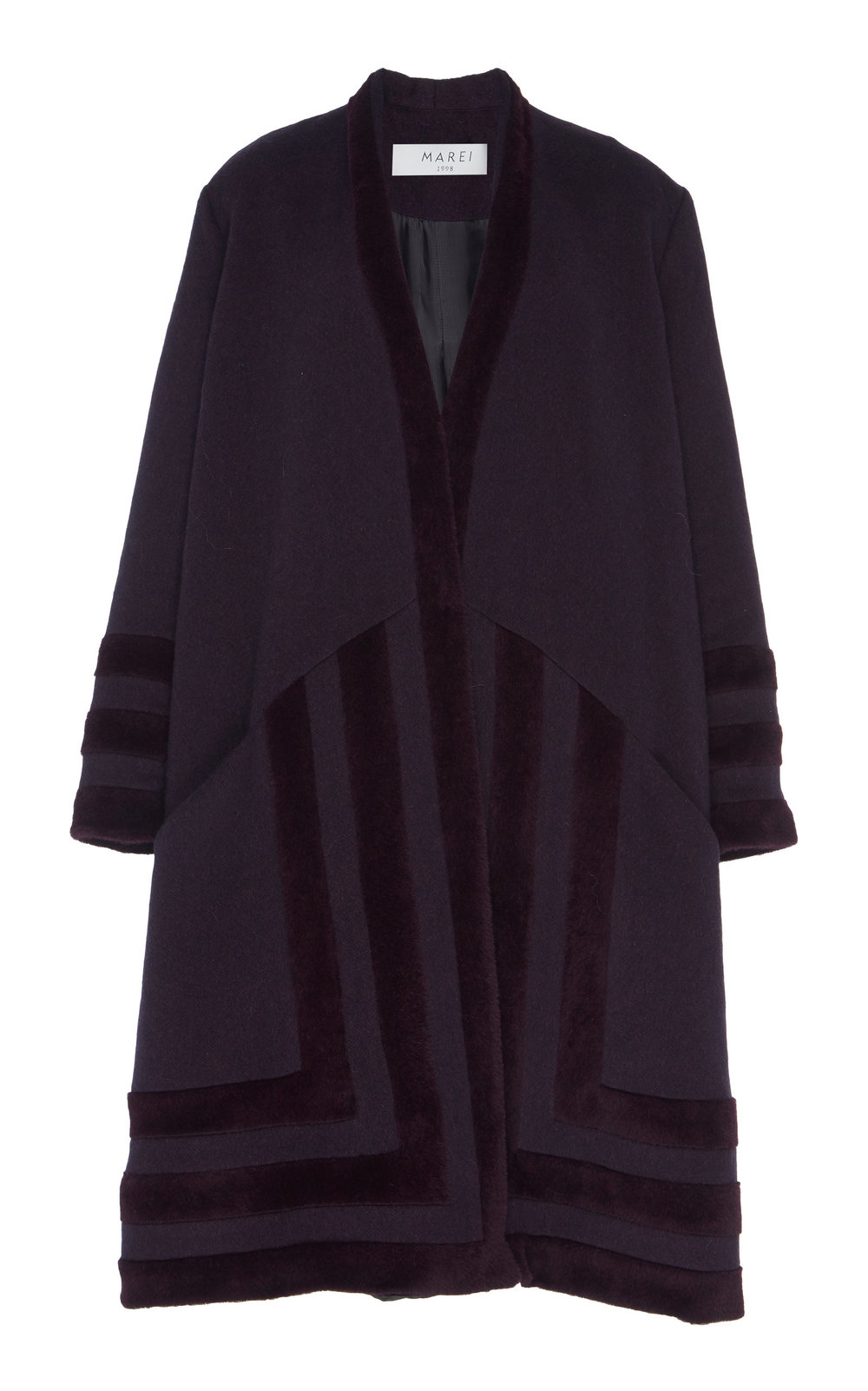 Wedelia Overcoat - VIOLET  Cut in an oversized silhouette, enhanced by deep neckline and dropped shoulders, this coat is an ideal winter piece. Made from a sumptuous blend of Virgin Wool and Angora, it is incredibly soft to touch. Decorative textured Fur trim details add a sophisticated twist.