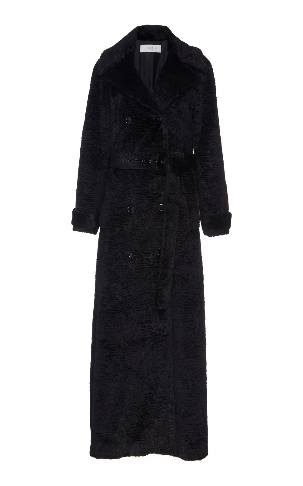 Muscari Textured Faux Fur Coat - BLACK  A timeless winter investment, this textured faux fur coat features a double-breasted design and notched lapels. Flared silhouette and ankle length add a dramatically elegant effect.  Wear yours with a matching belt to accentuate the waistline.
