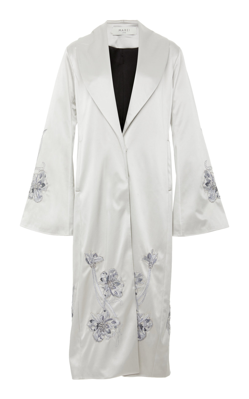Mayflower Hand-embroidered Silk Jacket - SILVER  This delicate Silk jacket features a notched lapel collar and side pockets. A meticulous hand embroidery design adds a touch of glamour to every outfit.