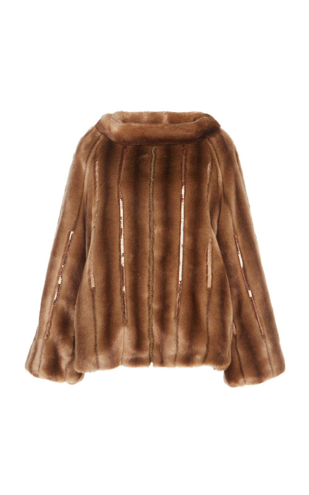 Achillea Hand-embroidered Faux Fur Pullover - BROWN  A perfect Fur pullover with a loose fit, flared sleeves and wide neckline. The minimalistic shape is refined by sophisticated beads embellishments.