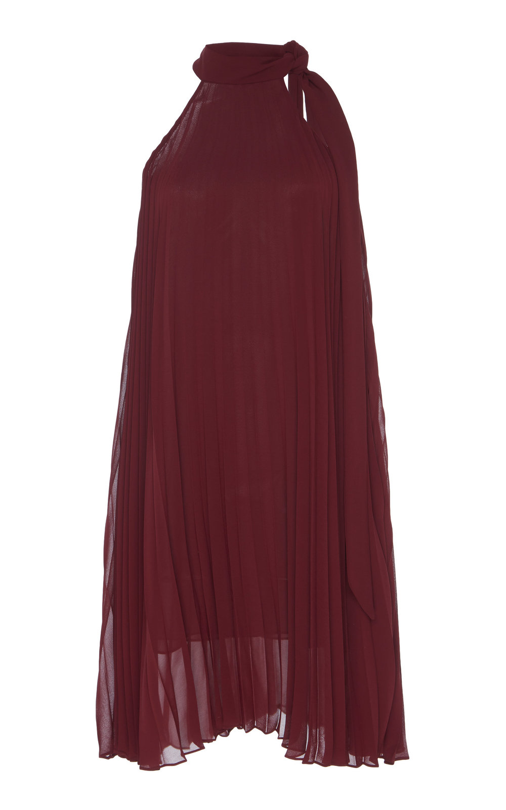 Xylosma Pleated Blouse - BURGUNDY  This elegant blouse features a relaxed fit and bow tie collar. Pressed with sharp pleats, this semi sheer piece flares out into a subtle A-line silhouette, offering both clean and refined look.