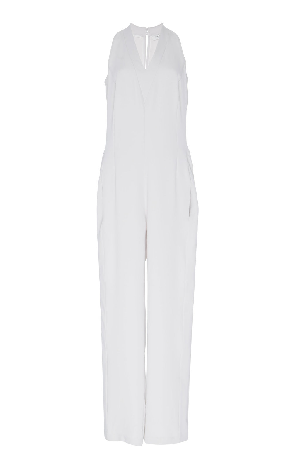 Snowdrop Jumpsuit - IVORY  Sharply cut in a straight-leg shape, this chic jumpsuit features a sleeveless design and V-neckline. The minimalistic silhouette is refined by sophisticated cuts.