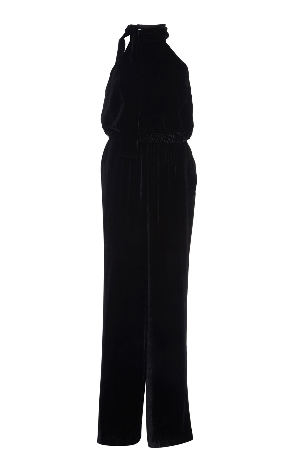 Clintonian Silk Velvet Jumpsuit - BLACK  A perfect day to night Silk velvet jumpsuit. Cut in a wide-leg silhouette, it features a tie-up halter collar and cinched waistline.