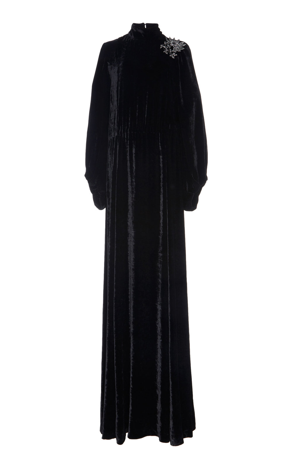 Acourtia Silk Velvet Dress - BLACK  A long-sleeved Silk Velvet dress with a dramatically elegant effect.  Flared sleeves and high neckline create a graceful look, while cinched dropped waistline defines the silhouette and accentuates the feminine shape.