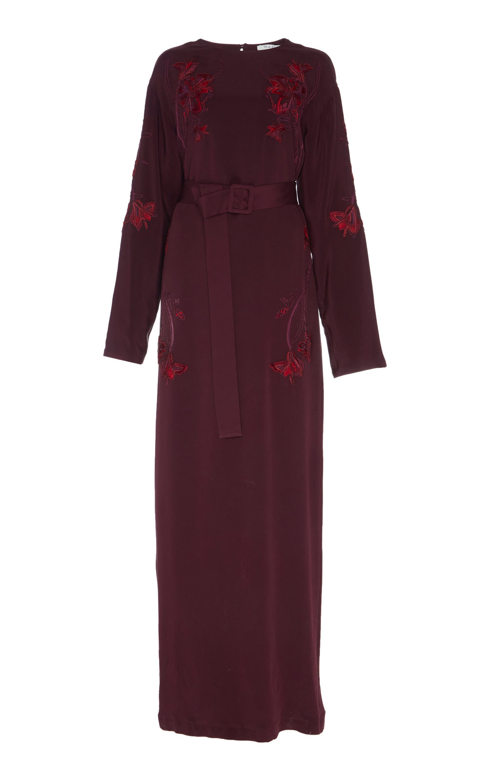 Passiflora Hand-embroidered Silk Dress - BURGUNDY  Crafted in sumptuous Silk, this dress is cut in a slight flared silhouette and finished with a delicate floral hand-embroidery design. Wear yours with a matching belt to define the waistline.