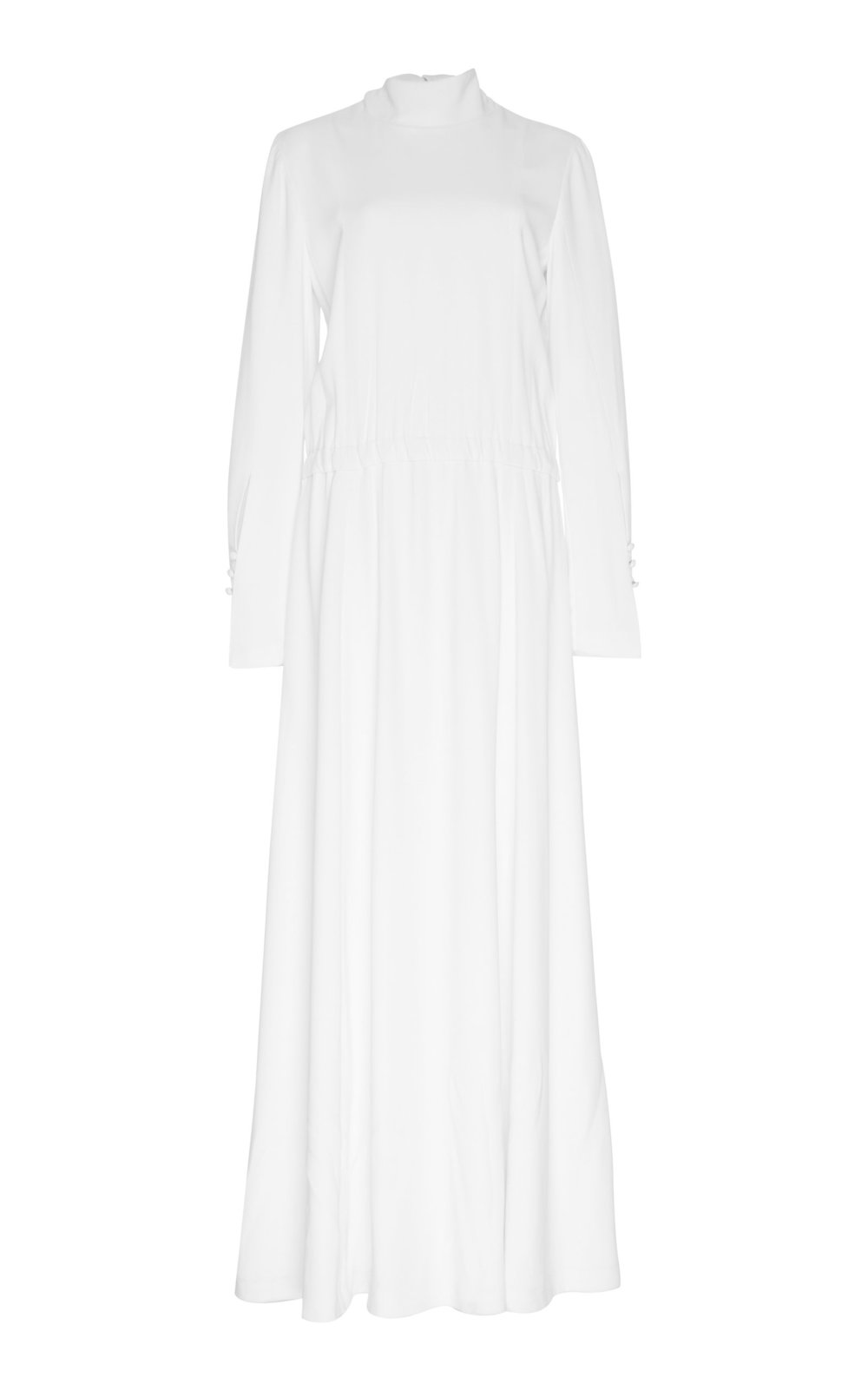 Veronica Silk Dress - IVORY  A simple yet chic Silk dress with a tie-up collar and long sleeves. Easily cinched at the waistline, the supple fabric falls into a pleated maxi hem. The minimalistic silhouette creates an effortlessly elegant look.
