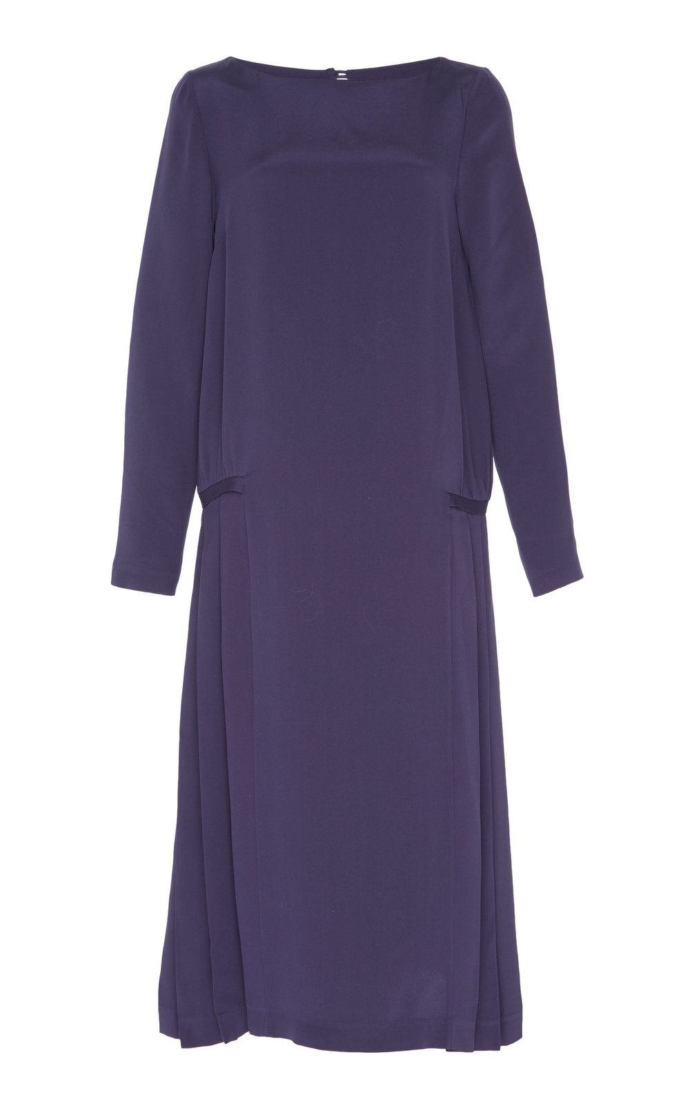 Saponaria Silk Dress - SMOKED PURPLE  Cut in a loose shape, this long sleeves Silk dress features a boat neckline and dropped waist. The fabric is delicately pressed into tiny pleats on the sides to enhance proportions and balance the flare. Pair yours with either flats or heels for equally stylish look.