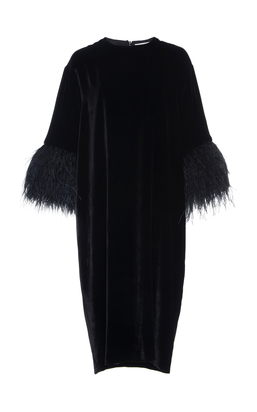 Nigella Silk Velvet Dress - BLACK  Hitting just below the knee, this Silk Velvet dress features a relaxed fit and crew neckline. The minimalistic design is refined by dropped shoulders and fur trimmed cropped sleeves.  Wear yours with a tone-on-tone belt to define the waistline.