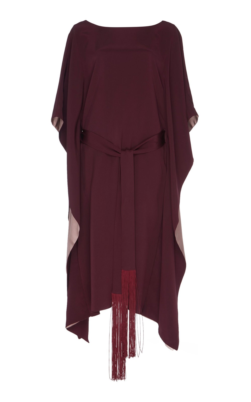 Lotus Silk Dress - BURGUNDY  A perfect day to night Silk dress with a loose fit and boat neckline. The sophisticated flared cut and cascading sleeves create an effortlessly elegant look. Contrasting lining adds a subtle twist.