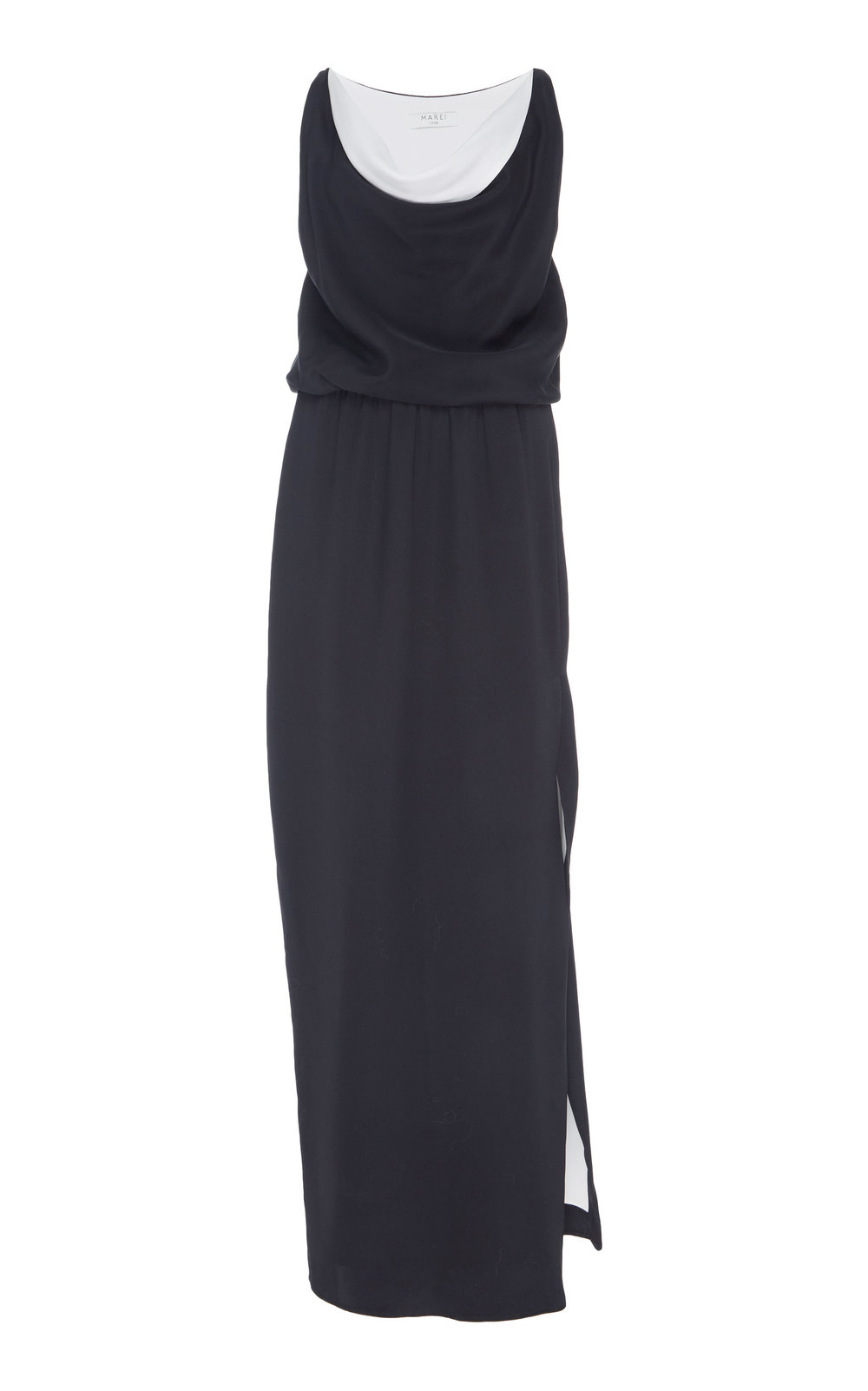 Zenobia Silk Dress - BLACK  A chic day to night slip on Silk dress. The minimalistic design is refined by an open draped neckline and contrasting lining. Cinched waistline and high side slit accentuate proportions while creating a slight flare.