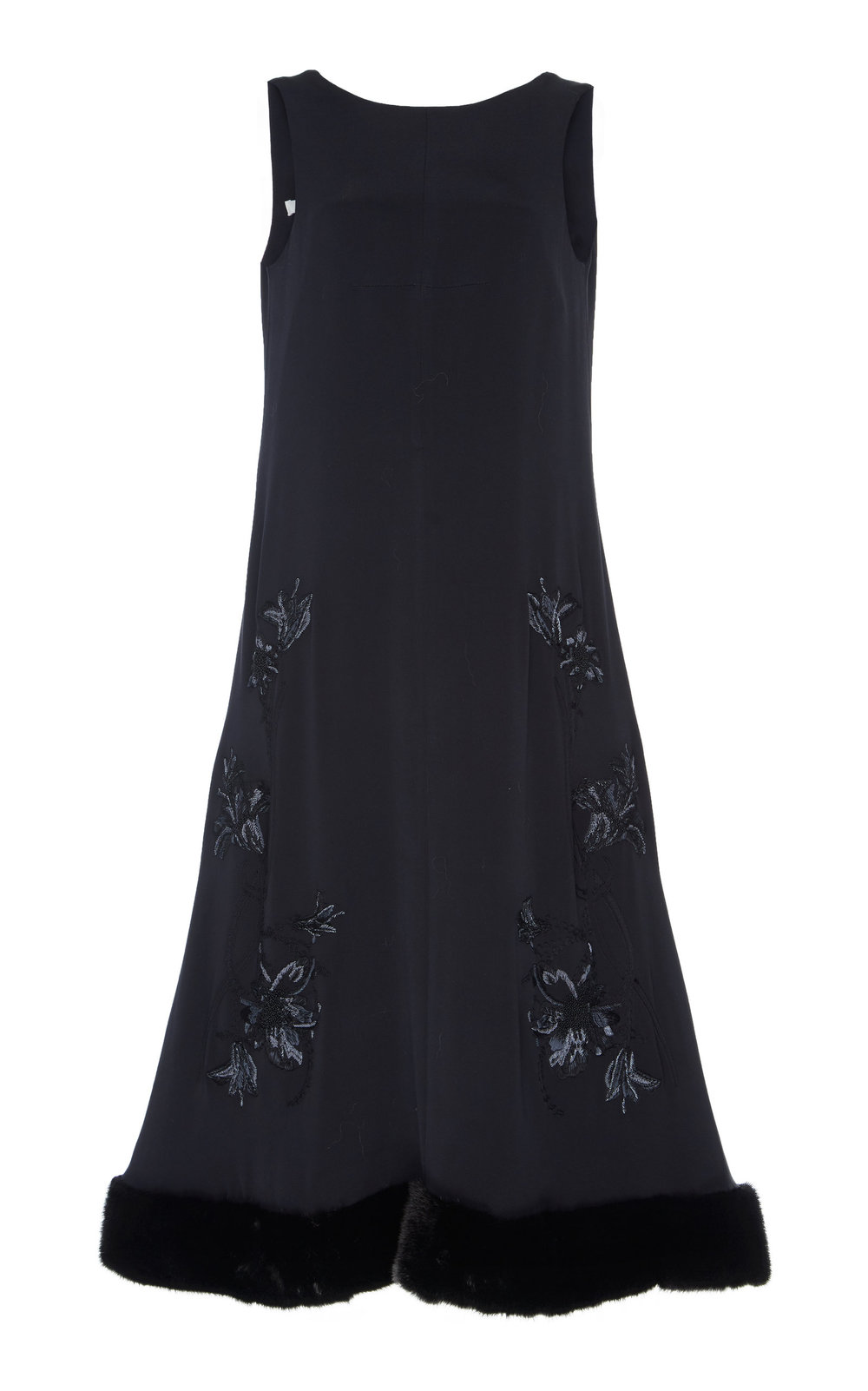 Susan Hand-embroidered Dress - BLACK  With the perfect calf length, this dress is highly elegant. Made from sumptuous Silk, it features a sleeveless A-line silhouette and rounded neck cut. Delicate hand-embroidery design and Faux Fur trimmed hemline create a glamorous look.