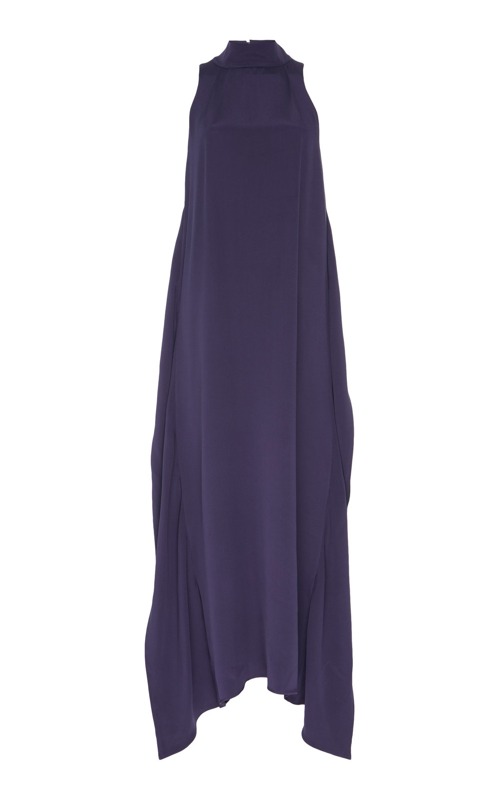 Hyacinth Silk Dress - INK PURPLE  A light-weight silk dress, with a double-layered back. The subtle flared cut and high neckline create an effortlessly elegant look.