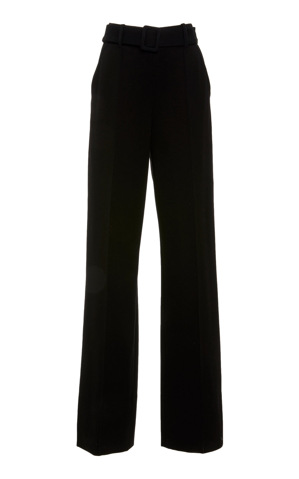 Matthiola Jersey Pants - BLACK  Sharply cut in a wide leg silhouette, these classic pants feature a high waistline and fly closure. The belted design features a central front cut, providing a contemporary tailored feel. Wear yours with a jacket or as a sharp separate.