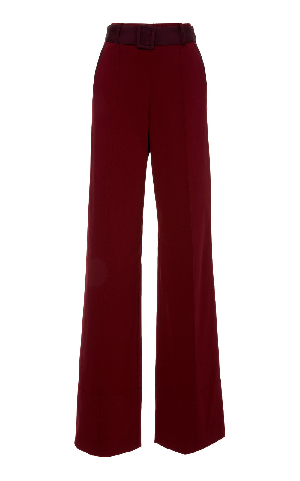 Matthiola Jersey Pants - BURGUNDY  Sharply cut in a wide leg silhouette, these classic pants feature a high waistline and fly closure. The belted design features a central front cut, providing a contemporary tailored feel. Wear yours with a jacket or as a sharp separate.